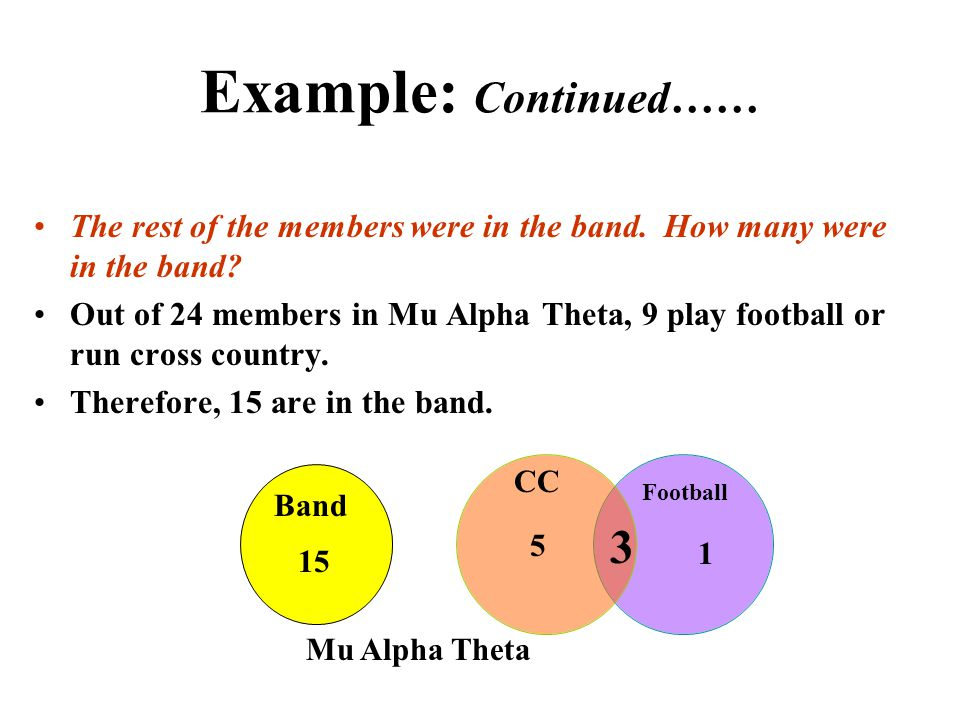 Example: Continued…… The rest of the members were in the band. How many were in the band