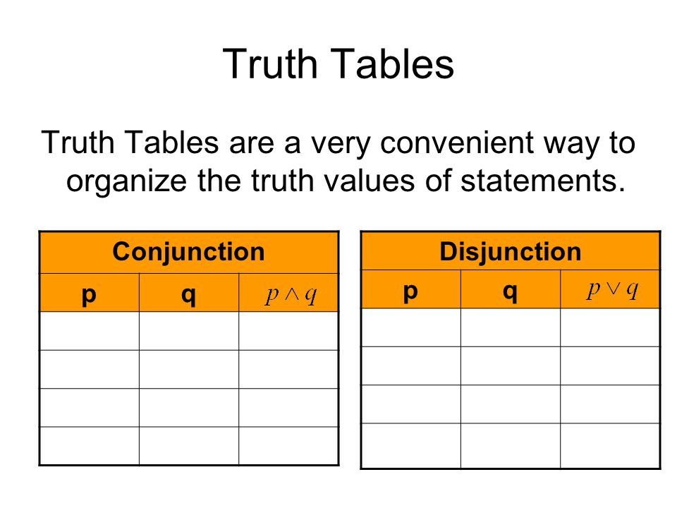Truth Tables Truth Tables are a very convenient way to organize the truth values of statements. Conjunction.