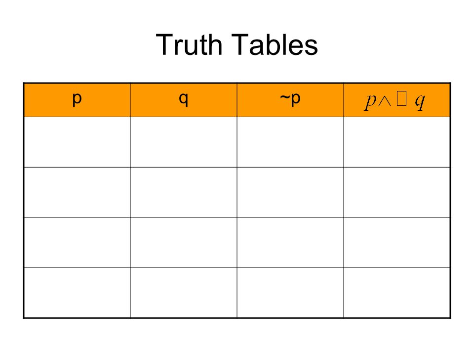 Truth Tables p q ~p
