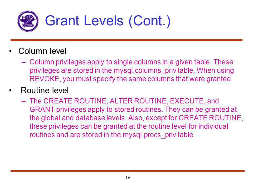 Grant Levels (Cont.) Column level Routine level