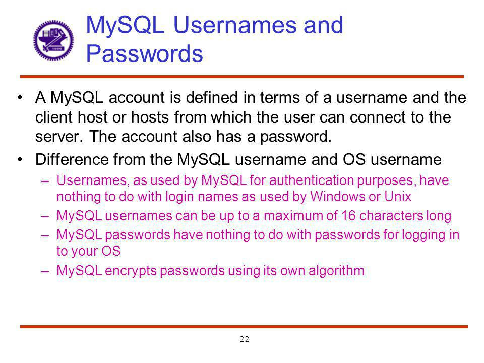 MySQL Usernames and Passwords