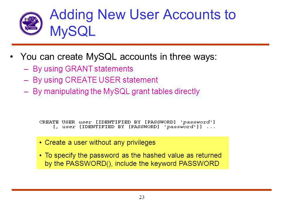 Adding New User Accounts to MySQL