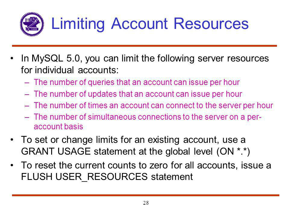 Limiting Account Resources