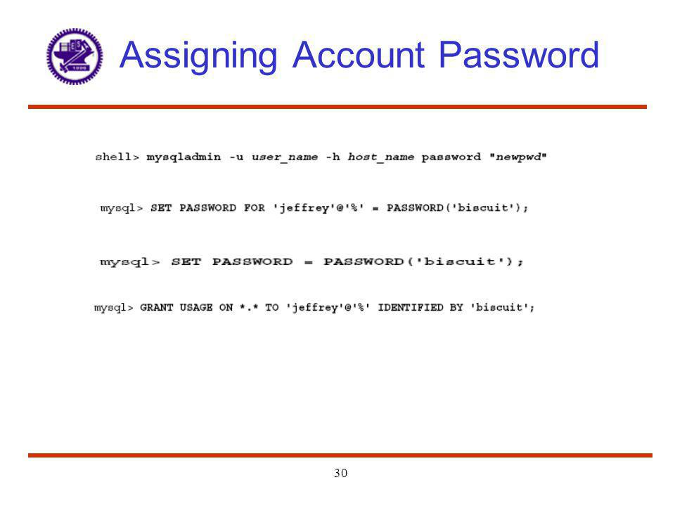 Assigning Account Password