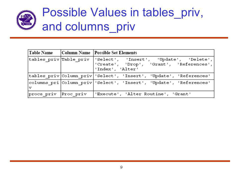Possible Values in tables_priv, and columns_priv