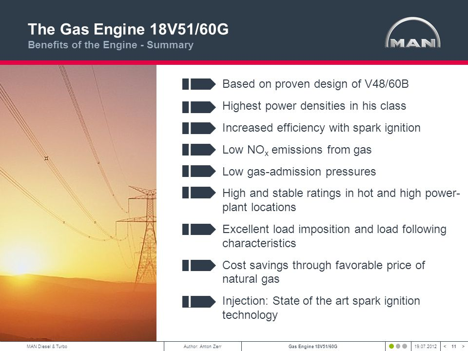 The Gas Engine 18V51/60G Benefits of the Engine - Summary