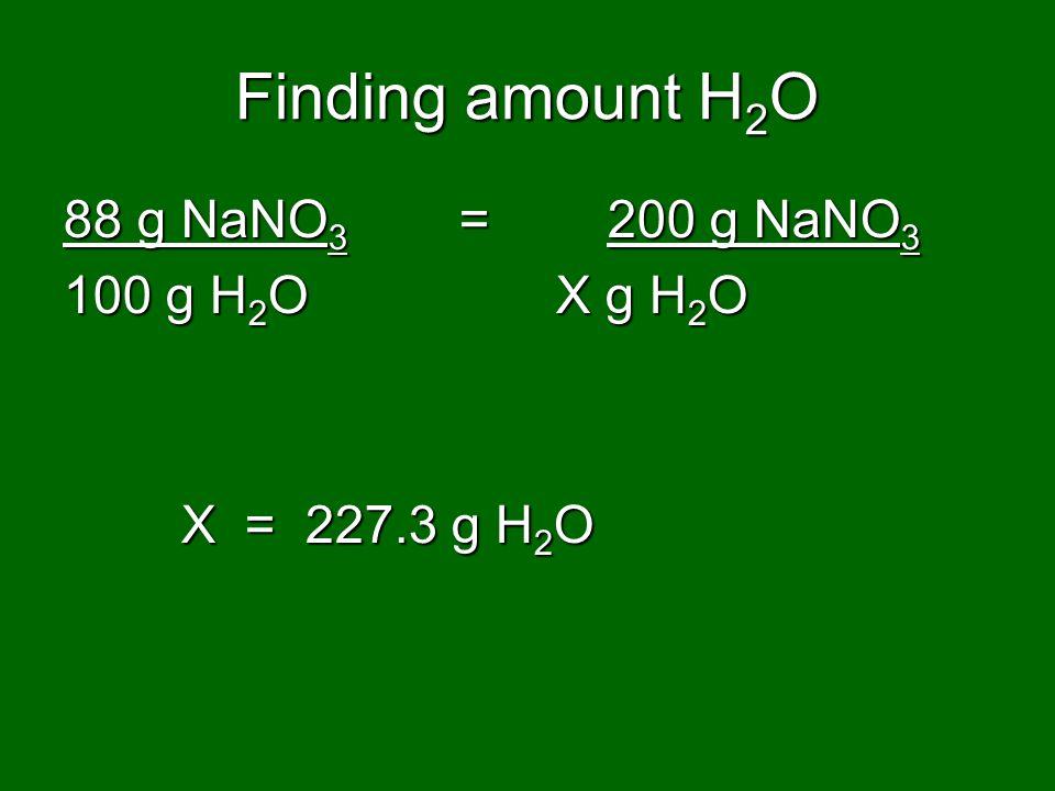 Finding amount H2O 88 g NaNO3 = 200 g NaNO3 100 g H2O X g H2O