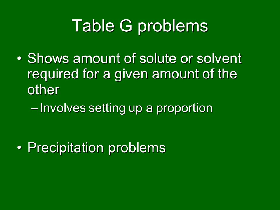 Table G problems Shows amount of solute or solvent required for a given amount of the other. Involves setting up a proportion.