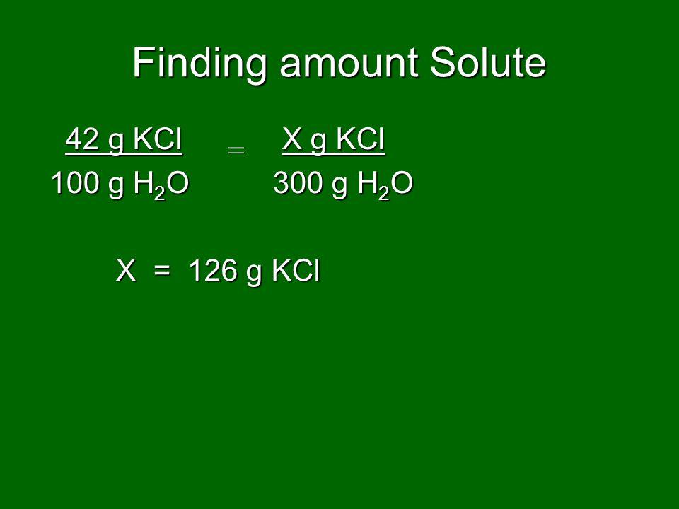 Finding amount Solute 42 g KCl X g KCl = 100 g H2O 300 g H2O