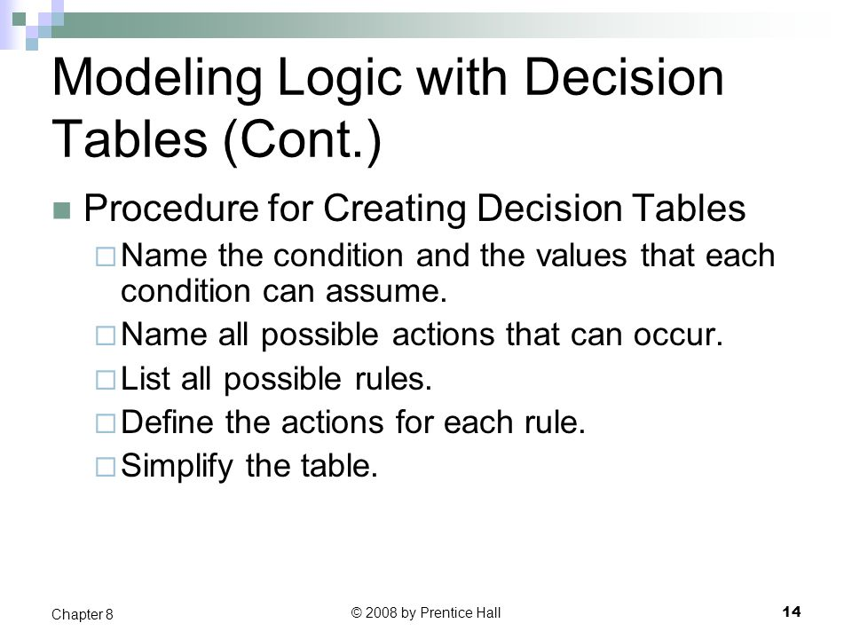 Modeling Logic with Decision Tables (Cont.)