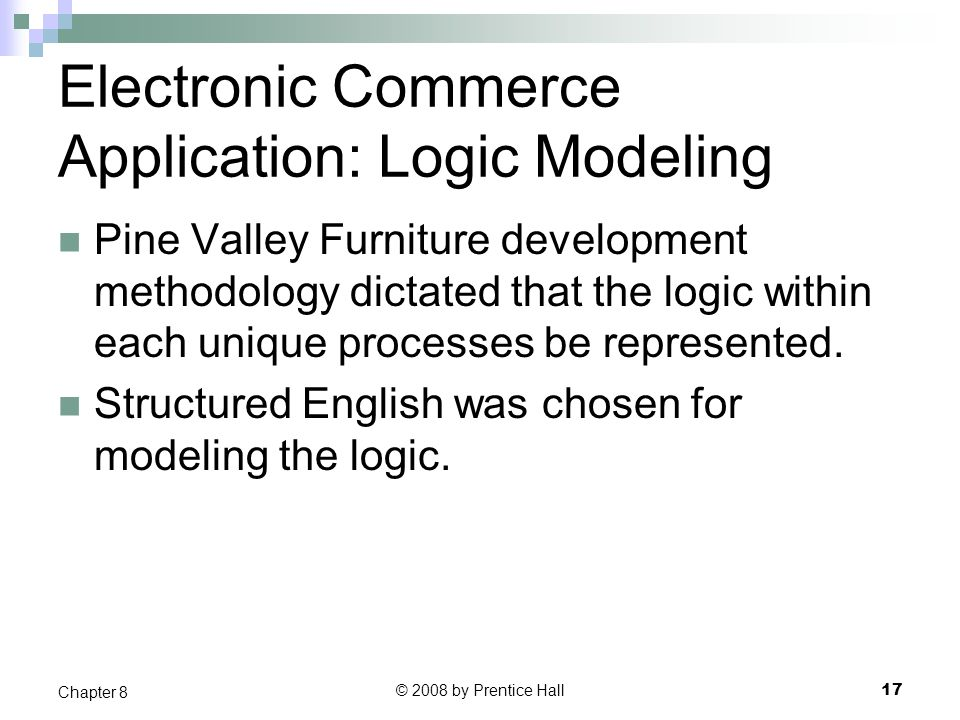 Electronic Commerce Application: Logic Modeling