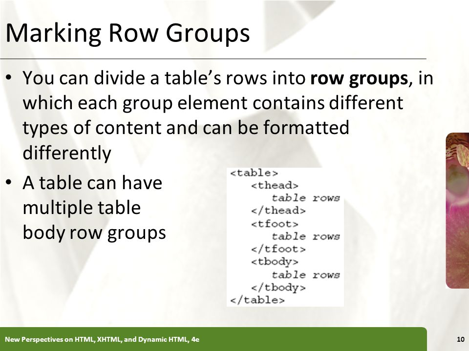Marking Row Groups