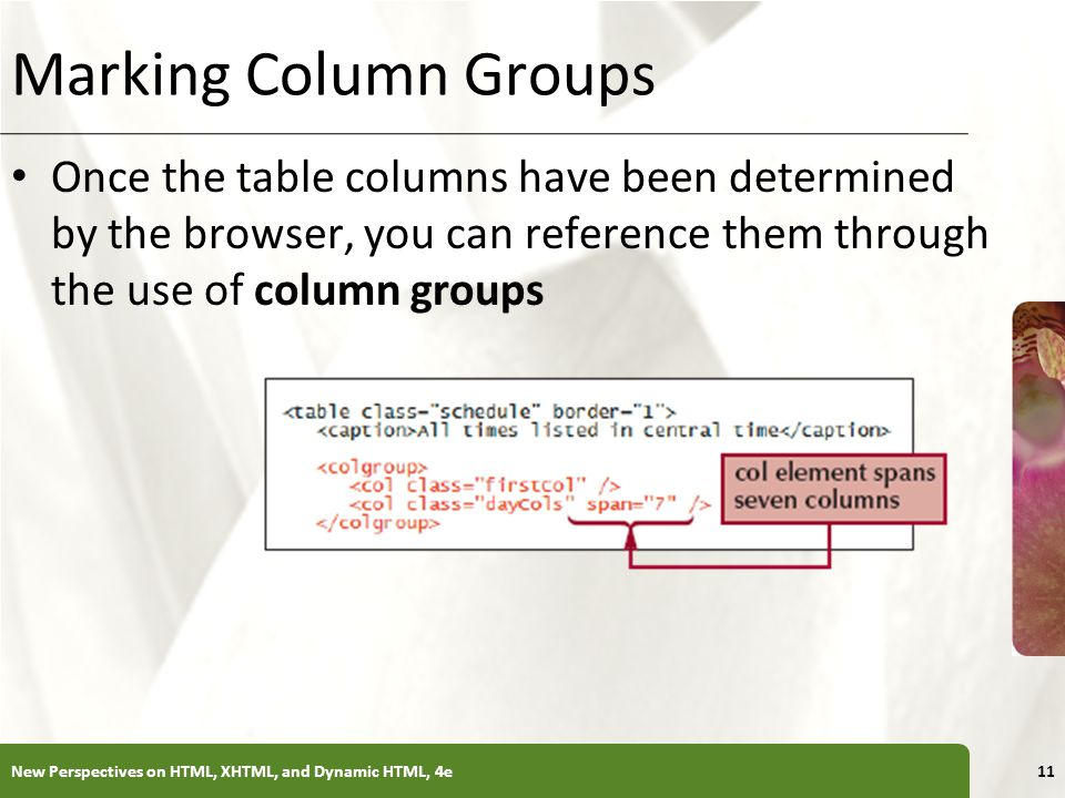 Marking Column Groups Once the table columns have been determined by the browser, you can reference them through the use of column groups.