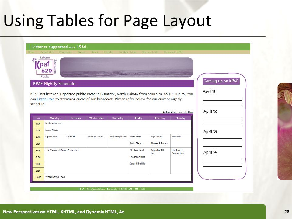 Using Tables for Page Layout