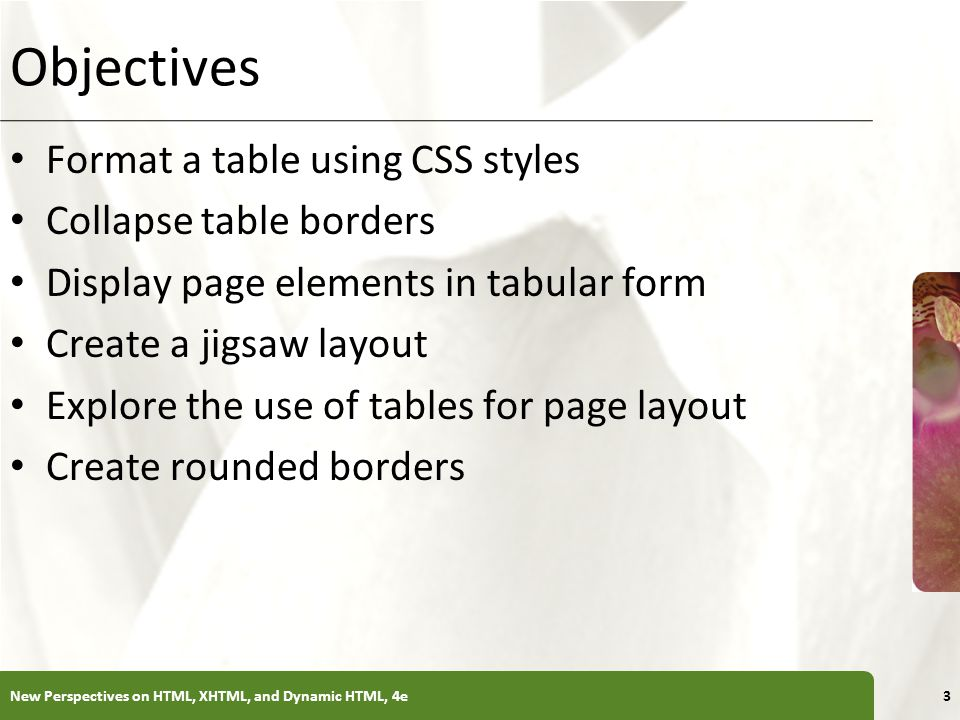 Objectives Format a table using CSS styles Collapse table borders