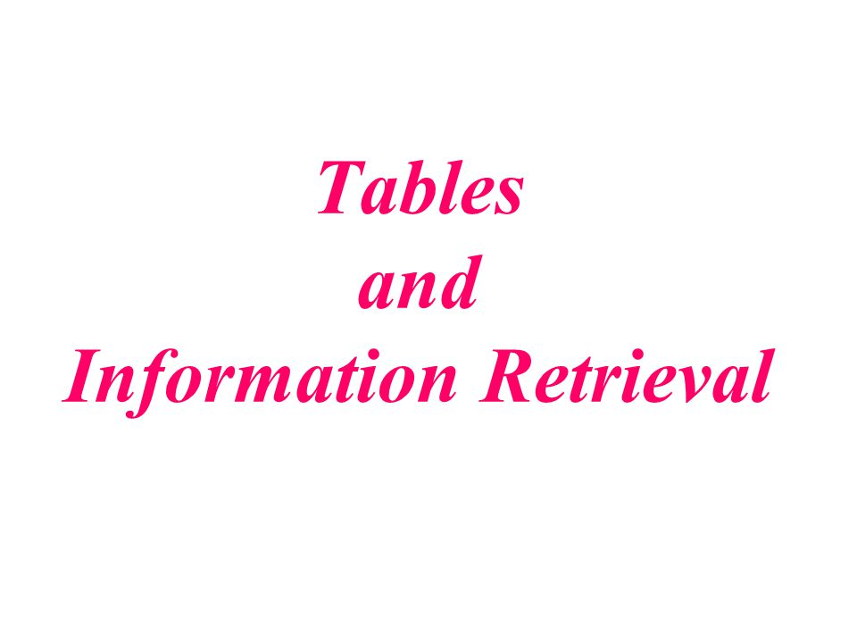 Tables and Information Retrieval