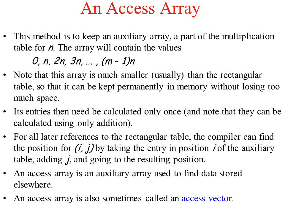 An Access Array This method is to keep an auxiliary array, a part of the multiplication table for n. The array will contain the values.