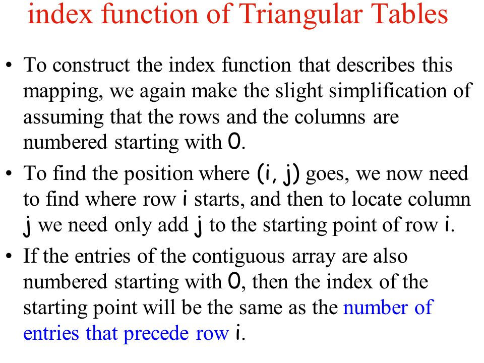index function of Triangular Tables