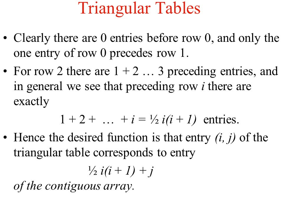 Triangular Tables Clearly there are 0 entries before row 0, and only the one entry of row 0 precedes row 1.
