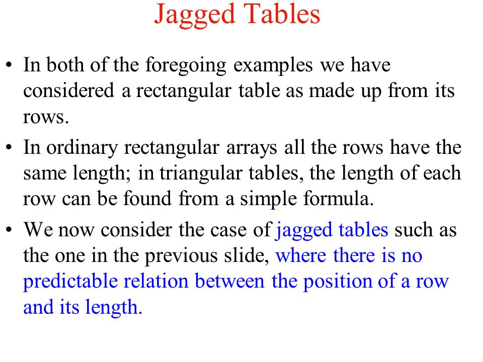 Jagged Tables In both of the foregoing examples we have considered a rectangular table as made up from its rows.