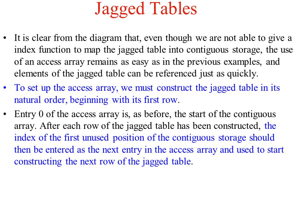 Jagged Tables