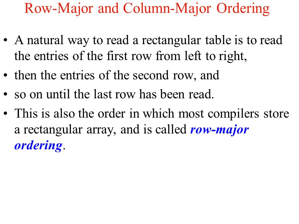 Row-Major and Column-Major Ordering
