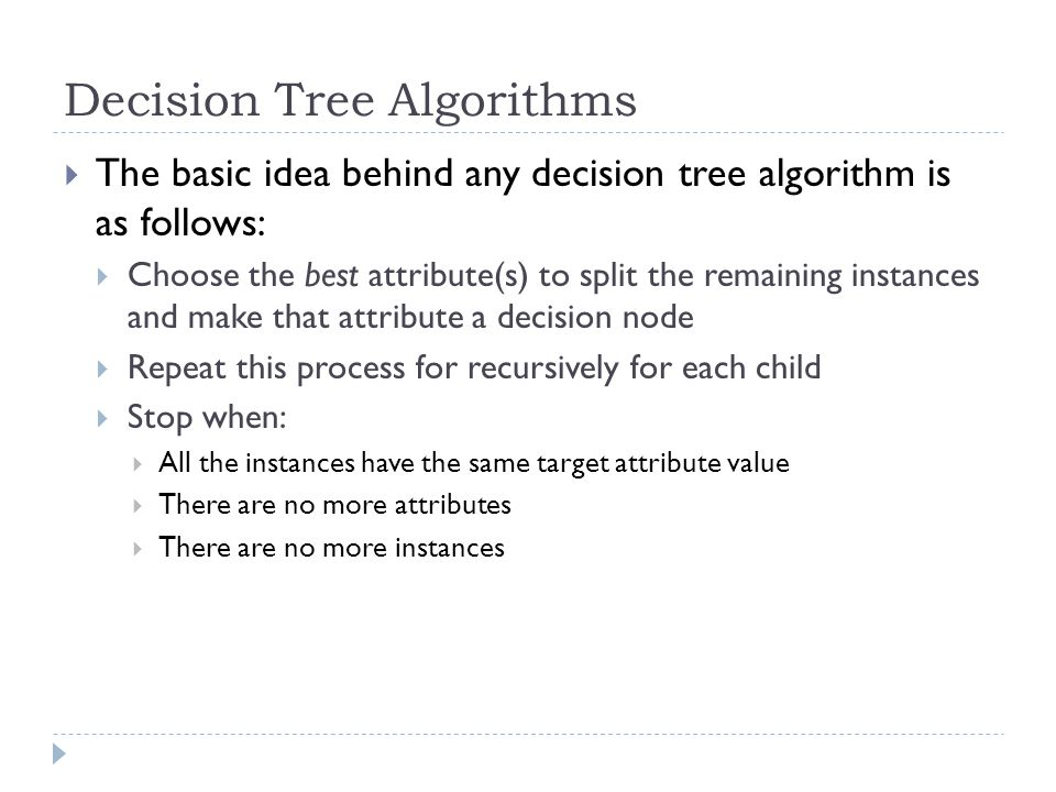 Decision Tree Algorithms