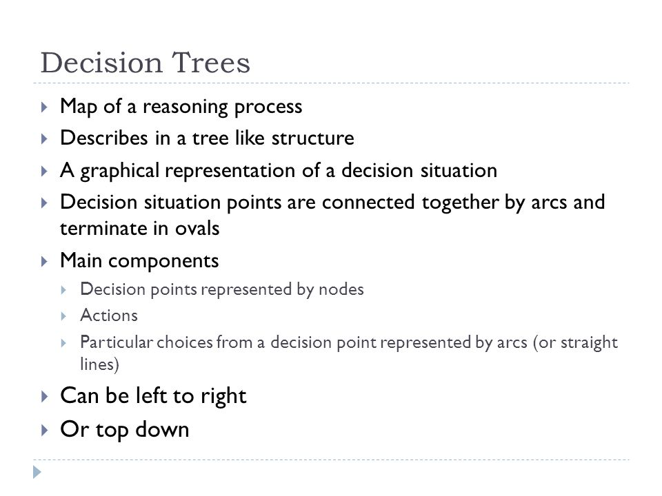 Decision Trees Can be left to right Or top down