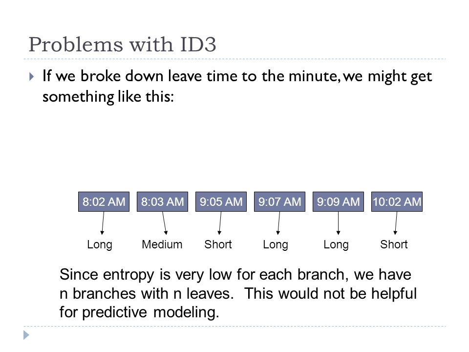 Problems with ID3 If we broke down leave time to the minute, we might get something like this: 8:02 AM.