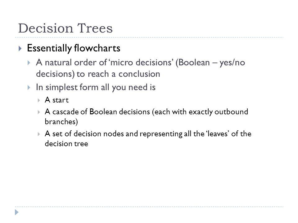 Decision Trees Essentially flowcharts