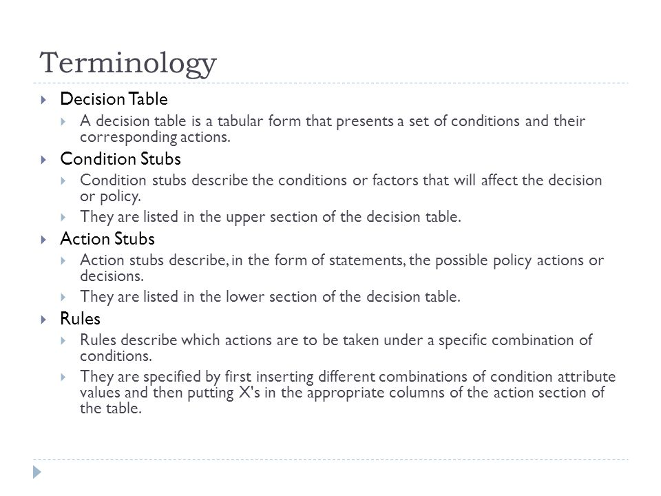 Terminology Decision Table Condition Stubs Action Stubs Rules