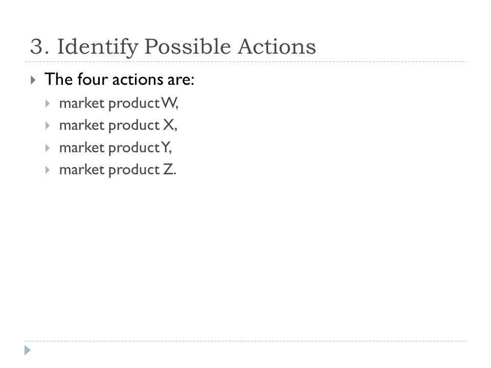 3. Identify Possible Actions