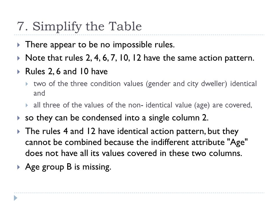 7. Simplify the Table There appear to be no impossible rules.