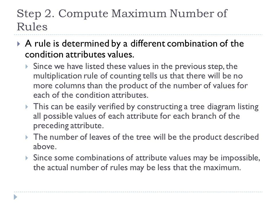 Step 2. Compute Maximum Number of Rules