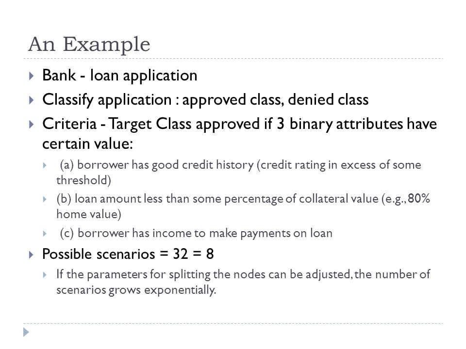 An Example Bank - loan application