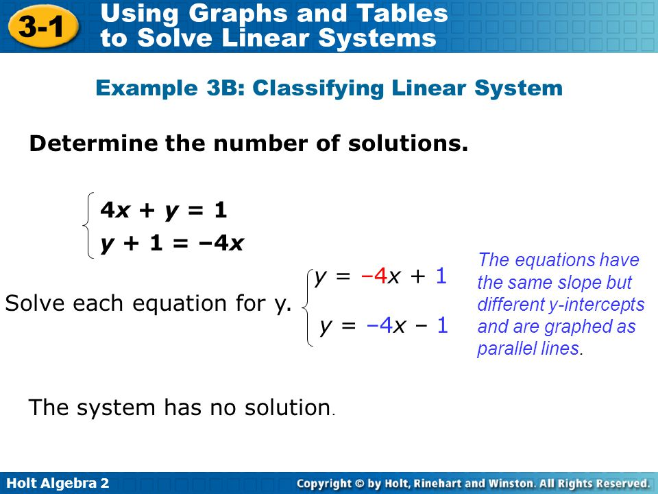 Example 3B: Classifying Linear System
