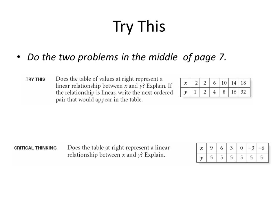 Try This Do the two problems in the middle of page 7.