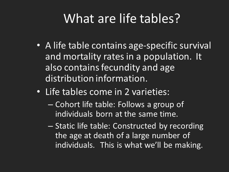 What are life tables