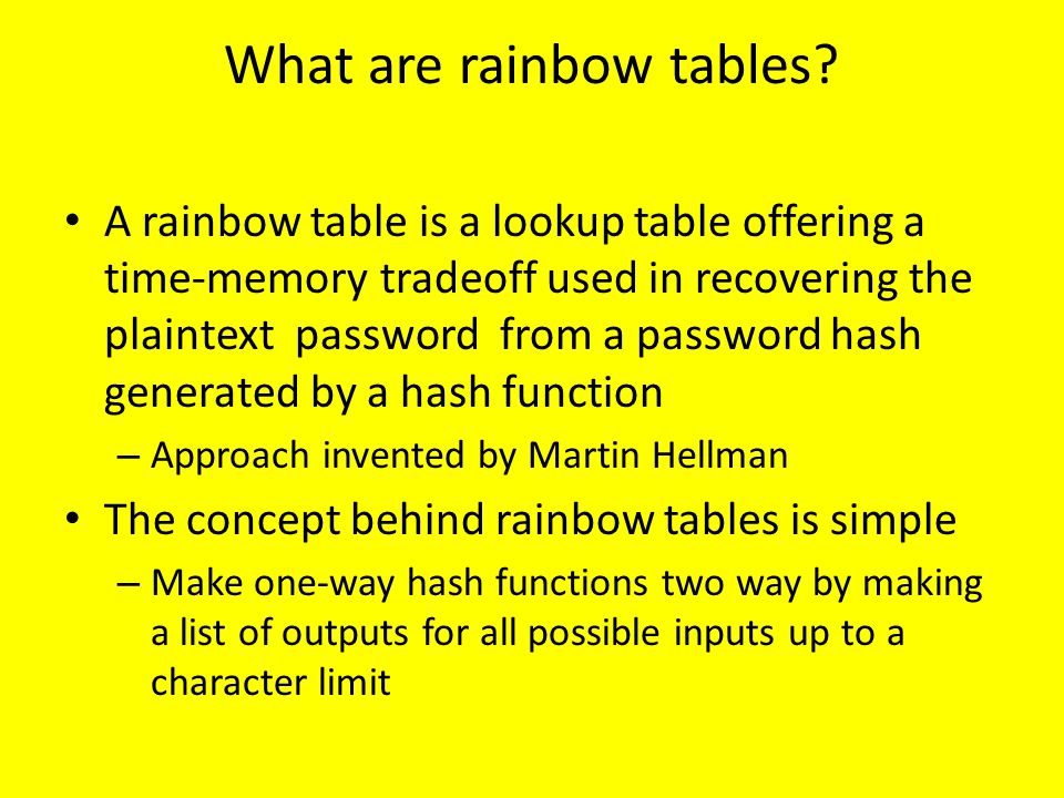 What are rainbow tables
