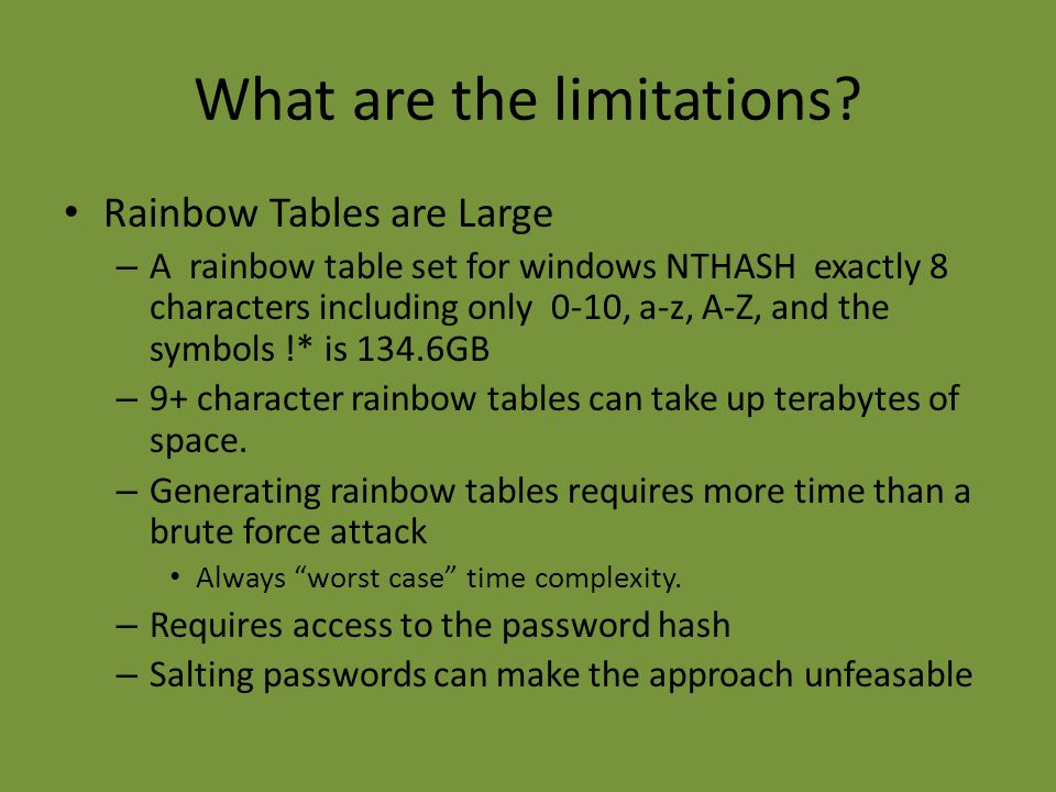 What are the limitations