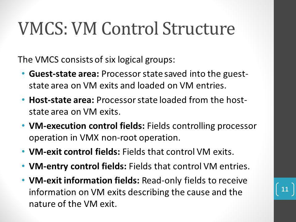 VMCS: VM Control Structure