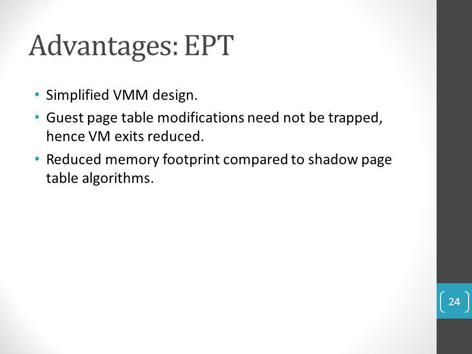 Advantages: EPT Simplified VMM design.