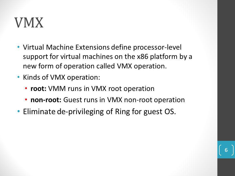 VMX Eliminate de-privileging of Ring for guest OS.
