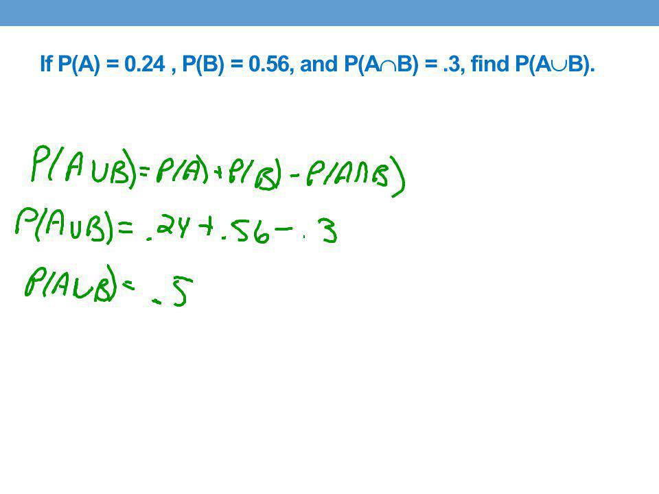 If P(A) = 0.24 , P(B) = 0.56, and P(AB) = .3, find P(AB).