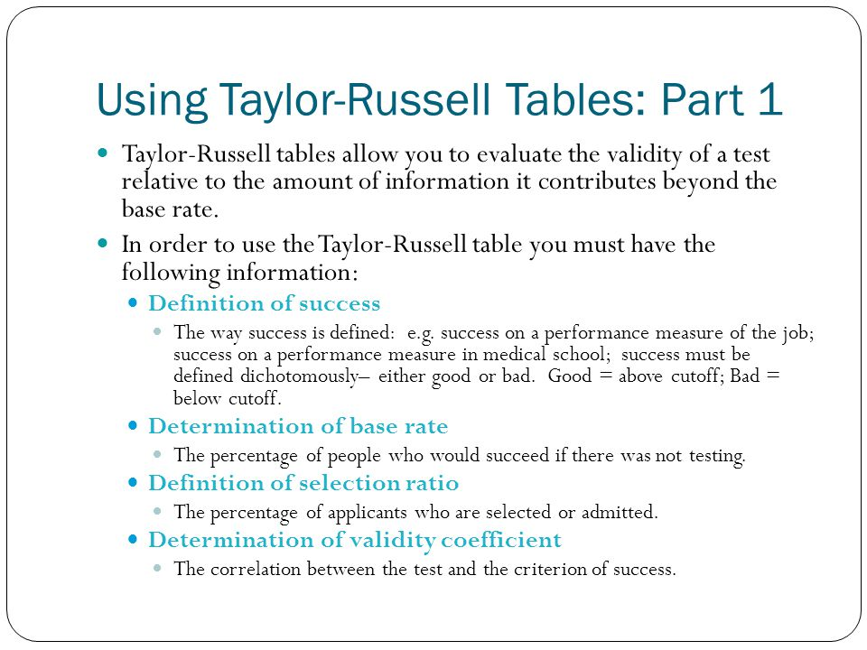 Using Taylor-Russell Tables: Part 1