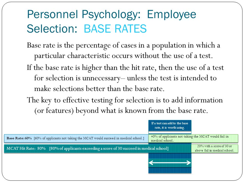 Personnel Psychology: Employee Selection: BASE RATES