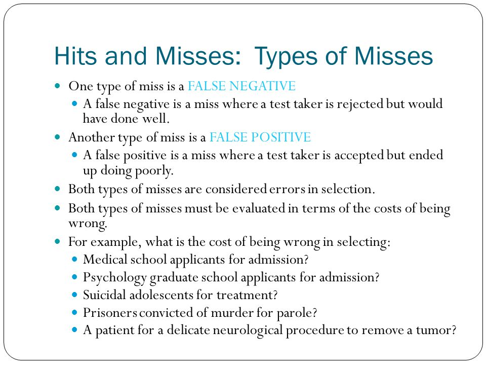 Hits and Misses: Types of Misses
