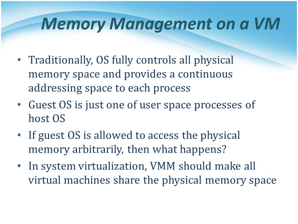 Memory Management on a VM