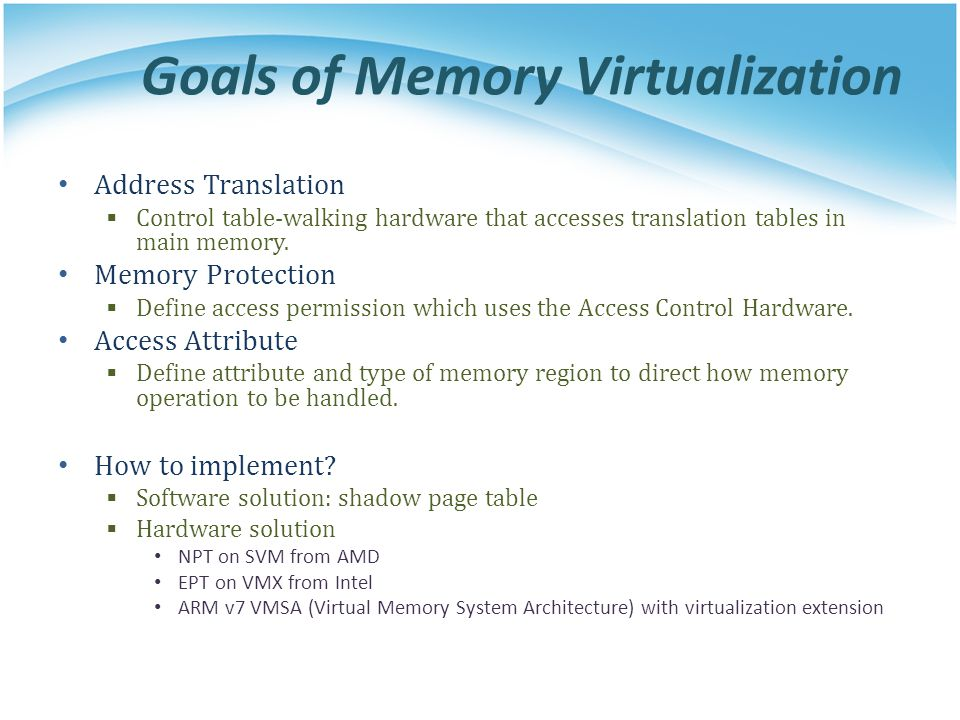 Goals of Memory Virtualization