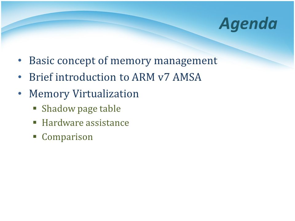 Agenda Basic concept of memory management